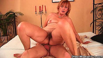 Plump grandma fucking her toy boys cock with her unshaven pussy