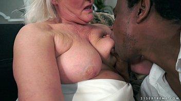 Grey granny on big black cock