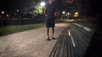A young guy strips totally in a public park almost caught by cyclist 5 min