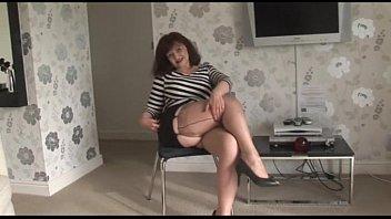 Mature short skirt and nylons