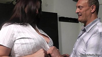 Boss bangs brunette fatty in fishne..
