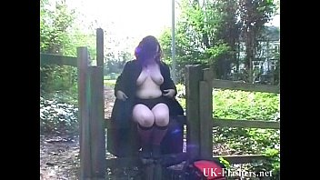 Couragious public exhibitionism and bbw flashing of speccy fatty showing pussy