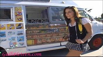 Icecream truck super cute teen on roller skates shares icecream mans c..