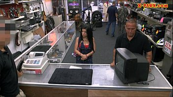 Big boobs cuban chick pussy fucked in the pawnshop