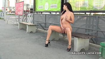 Fun nude on the street