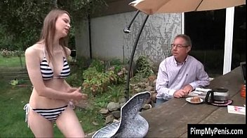 Stepdaughter and dad have sex xxx in the backyard