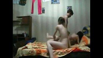 Three girls having fun with a boy