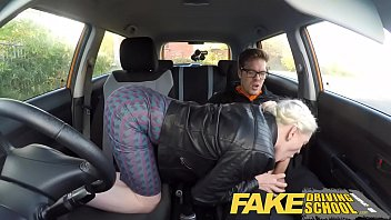 Fake driving school big tits hairy pussy student has creampie and squi..