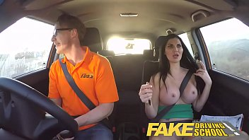 Fake driving school busty examiner passes excitable young man on his t..