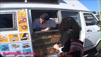 Gullibleteens.com icecream truck teen schoolgirl puffy black hair