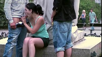 Cute teen girl fucked by 2 guys in public in center of the city by fam..