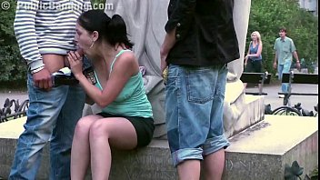 Cute teenage girl fucking on a public street by a famous statue