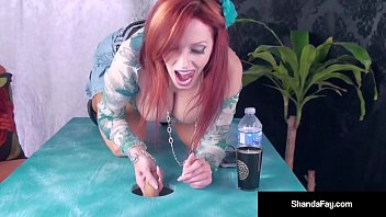 Sensual milf shanda fay, sucks and fucking a cock in her table!