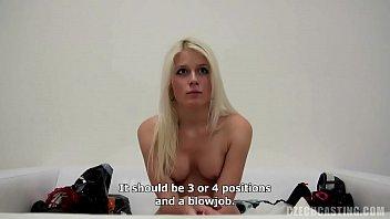 Peroxid blonde blows cameramans cock