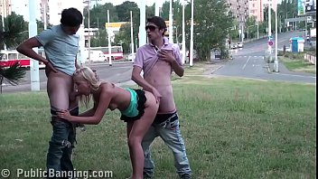 Extreme public street sex xxx threesome with a very cute young blonde ..