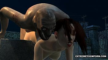 Sexy 3D Babe Fucked in a Graveyard by a Zombie