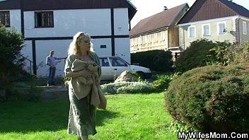Granny rides her soninlaw cock outdoor