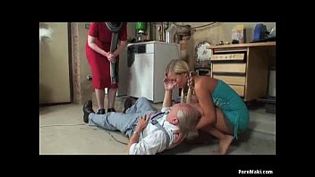 Granny catches blonde teen sucks gr..