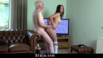 Young busty wife fucking old hubby cock deepthoat sucking cum in mouth..