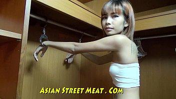 Slender media hairdo in thailand closet