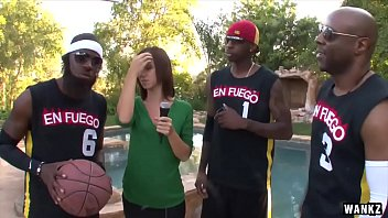 Wankz hot reporter gangbanged by basketball team