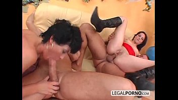 2 on 2 horny brunettes fucked in the ass by big...