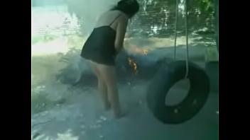 Fabiana en el patio
