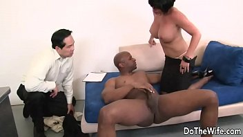 Milf pornstar fucked by a black guy in front of...