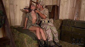 Horny soldiers bang sexy corporal sophie lynxs pussy and ass