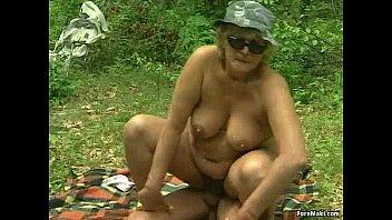 German bbw granny takes young cock outdoor