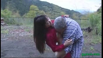 Asian girl getting her pussy licked and fucked by old man cum to ass o..