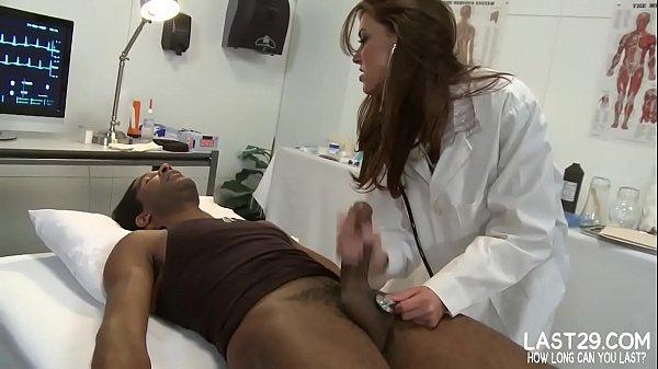 sexy brunette doctor sucks black cock on exa...
