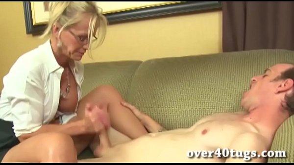 handjob Blonde milf