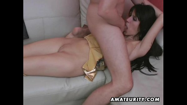 Tied amateur girlfriend sucks and fucks with cum in mouth