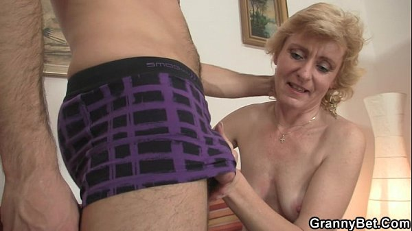 Old cleaning woman takes two cocks 9