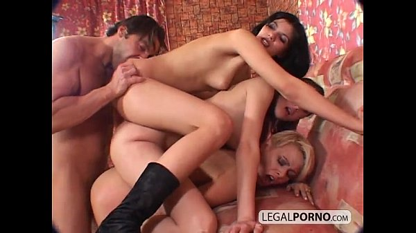 Triple stacked dirty babes fucked from behin...