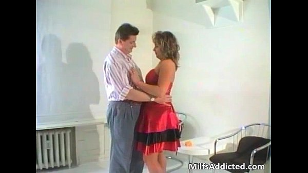 Brunette MILF blows hard cock and gets...