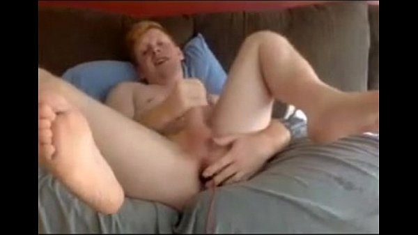 ginger bottom cums via ass play and hard horny jerking 10 min