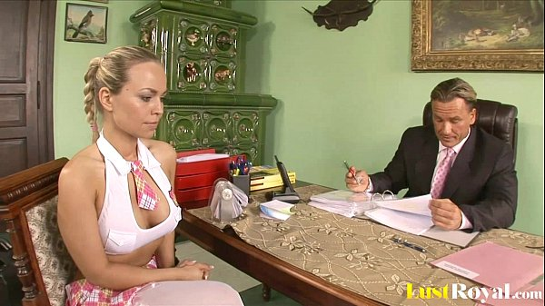Attractive Mia Leone gets tricked by her bos...