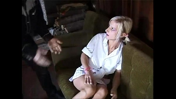 A young blonde is violently banged by two me...