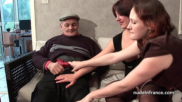 FFM Two french brunette sharing an old man c...