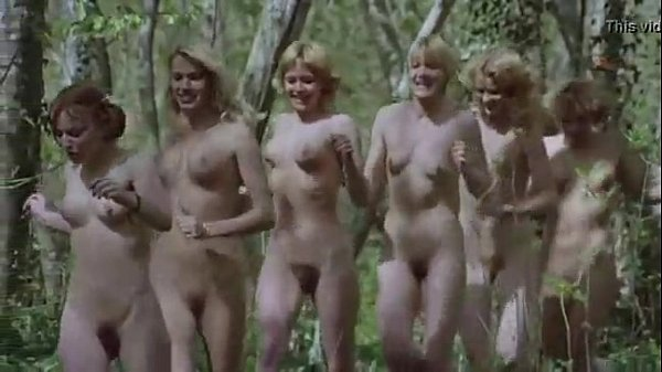 women running naked in the woods