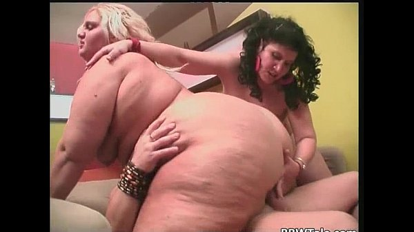 Amateur fat orgy involving two large...