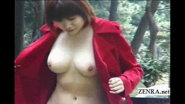 【野外露出】豊満巨乳熟女の全裸コート野外調教