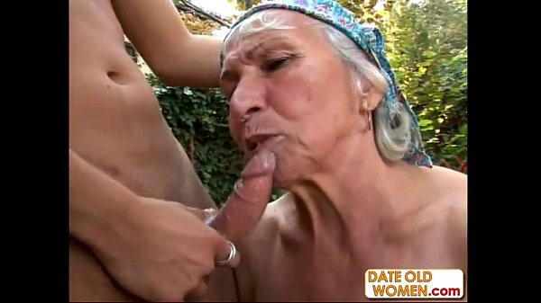 Granny Gets Reamed By Young Stud Outdoors...