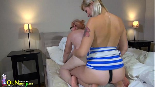 OldNanny brunette mature shows her panties...