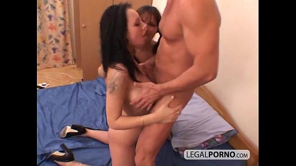 Two brunettes enjoying a threesome with a huge cock GB-5-04