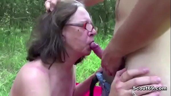 73yr old granny seduce fuck by 18yr old german boy outdoor 5