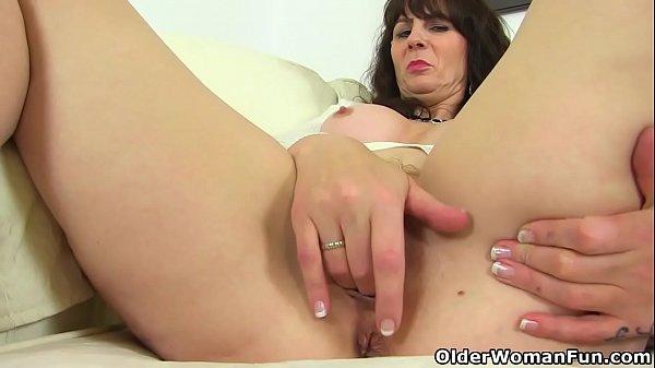 Sexy mature Toni Lace removes her panties and masturbates