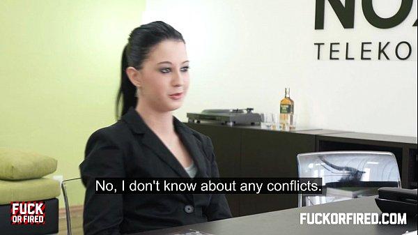 Teeny brunette fucks and sucks her boss...